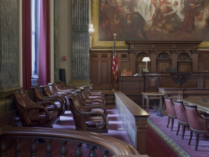 East_courtroom,_Judge's_bench_and_Jury_box,_Howard_M._Metzenbaum_U.S._Courthouse,_Cleveland,_Ohio_LCCN2010719484